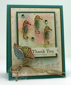 By the Tide by Ann Schach,  Stamp Sets: By the Tide, Stippled Blossoms, Wetlands, An Open Heart, French Foliage (retired); Inks: Pink Pirouette, Soft Sky, Crumb Cake, Soft Suede; Card Stock: Very Vanilla, Very Vanilla Core'dination (retired), Baked Brown Sugar; Tools: Paper Snips, Stampin' Sponge, Aqua Painter, Hexagon Punch, Two Way Glue Pen; Glitz and Glam: Dazzling Diamonds Stampin' Glitter, 2013 - 2015 In Color Sequin Assortment, Hemp Twine (retired)
