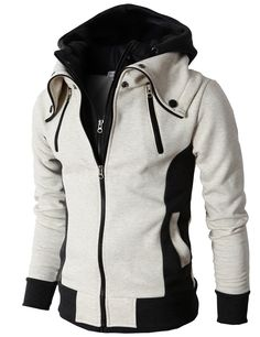 ae148771a47f H2H Men s High Neck Zip-Up Hoodie with Double Zip at Amazon Men s Clothing  store