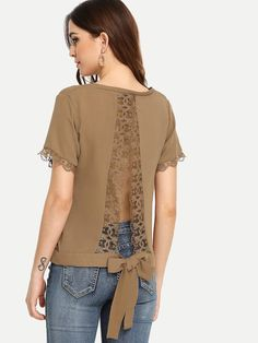 Shop Lace Trim V-Neck Solid Top online. SHEIN offers Lace Trim V-Neck Solid Top & more to fit your fashionable needs.To find out about the Lace Trim V-Neck Solid Top at SHEIN, part of our latest Blouses ready to shop online today! Fashion Sewing, Diy Fashion, Fashion Dresses, Blouse Styles, Blouse Designs, Sewing Blouses, Shirt Refashion, Clothing Hacks, Chic Outfits