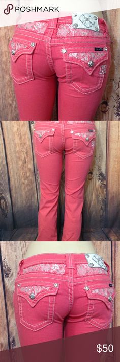 "Miss Me Cropped Pink Jeans Size 27 X 26 Apr.  Measurements  Laying  Flat;   Waist  14""   Rise  7-1/2""  Inseam  26""  Leg  Opening  7""  Brand   Miss Me     Style  Cropped   Label  Size  27 X 24-1/2   Great condition.       Thank you for looking Miss Me Jeans Ankle & Cropped"