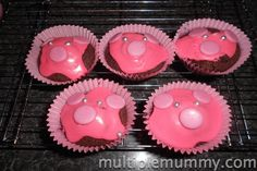 Pink pig Cakes - decorated by the kiddies! Simple but fun!