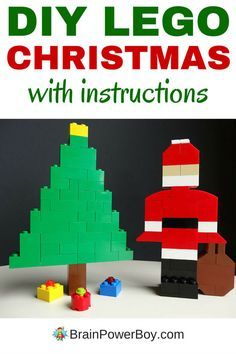 Make your own LEGO Christmas scene with a LEGO Santa, Christmas tree and gifts. Easy to make! Click image for instructions.