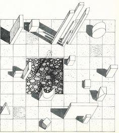 Earliest Land-Art: Herbert Bayer and Fritz Benedict's Green Mound and Marble Garden – SOCKS Herbert Bayer, Abstract Sculpture, Sculpture Art, Metal Sculptures, Bronze Sculpture, Bauhaus, Antony Gormley Sculptures, Drawing Sites, Axonometric Drawing