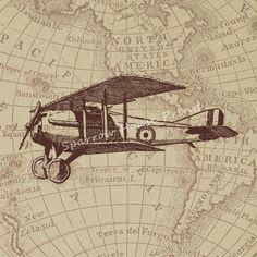 Vintage AviationVintage MapsFour X Inch By Artdeco - Vintage aviation maps
