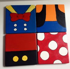 Hand painted Disney Inspired Ceramic Coasters- Mickey, Minnie, Goofy, and Donald Duck
