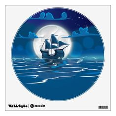 Wooden Sail ship voyage in the moonlight