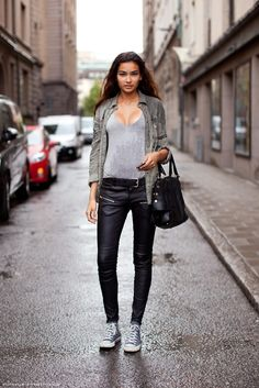 Leather pants and top