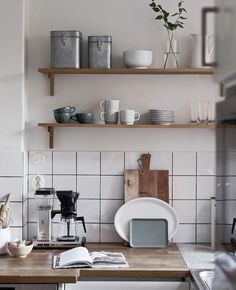 Minimalist Home Interior Kitchen decor - open wooden shelving and simple white tiled backsplash - - Kitchen Decor, Interior Design Kitchen, Home Decor Kitchen, Kitchen Design Open, House Interior, Kitchen Decor Apartment, Home Kitchens, Minimalist Home Interior, Home Decor