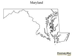 Printable Map of Maryland-craft outline