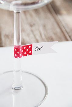 keep track of glasses & their proper owners at holiday parties w/ small flags of washi tape #christmas