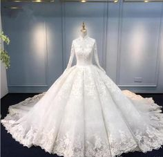 Latest Muslim Wedding Dresses Ball Gown High Neck Long Sleeve Lace Appliques Bridal Dresses Charming Wedding Gowns from MrTang Muslim Wedding Dresses, Wedding Dress Organza, Lace Wedding Dress With Sleeves, Pink Wedding Dresses, Princess Wedding Dresses, Perfect Wedding Dress, Bridal Dresses, Wedding Gowns, Wedding Lace