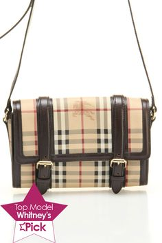 Burberry Check Flap Front Crossbody In Chocolate - Beyond the Rack