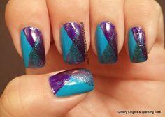Glittery fingers & sparkling toes: blue & purple glitter co Pretty Nail Colors, Pretty Nail Designs, Pretty Nail Art, Nail Art Designs, Abstract Designs, Purple Glitter, Glitter Nails, Gel Nails, Nail Bling