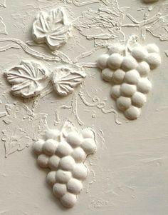 plaster of paris on concrete Plaster Paint, Plaster Crafts, Plaster Molds, Clay Crafts, Plaster Sculpture, Wall Sculptures, Plaster Of Paris, Stencil Painting, Stenciling