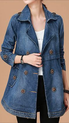 Long Sleeve Notch Collar Button Embellished Denim Coat, Blue Coat Long Sleeve Notch Collar Button Embellished Denim Coat,jackets for women ,coats & jackets ,denim jacket Fashion Mode, Look Fashion, Fashion Outfits, Womens Fashion, Coat Outfit, Coat Dress, Denim Mantel, Mode Mantel, Swing Coats