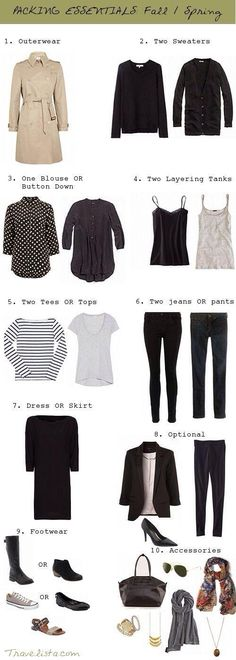 Fall/Spring packing list. Click to read product review for staple wardrobe items. Hot Deals on quality ..