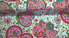 Stoff Herzen - Jersey Stoff Fabrics Herzen Hearts weiss rosa pink - ein Designerstück von Stoffe-guenstig-kaufen bei DaWanda