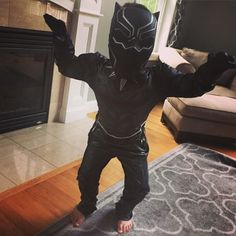 Kullen hasn't taken his new #blackpanther costume off in 2 days! I need one of these! #captainamericacivilwar #marvel