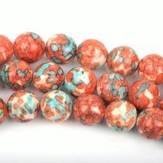 6mm MOSAIC HOWLITE Round Beads, turquoise blue, dark orange, white, full strand, about 63 beads, how0496