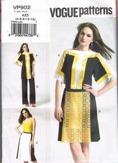 UNCUT Size 4-12 Misses' Color Block Tunic Top A Line Skirt & Wide Leg Pants Sewing Pattern - Vogue VP902
