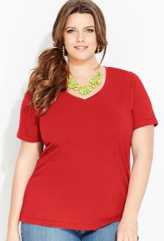 Crossover V-Neck Tee   Plus Size Knit Tops & Tees   Avenue