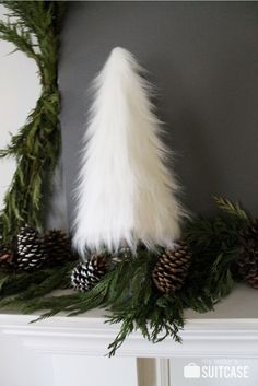 buy white fur garland - Google Search