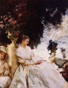 """In the Garden, Corfu, 1909, John Singer Sargent Size: 71.12x91.44 cm Medium: oil, canvas"""