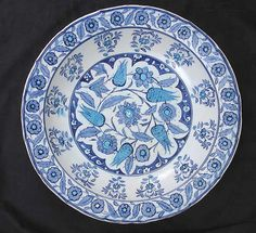 Date: mid-16th century Geography: Turkey, Iznik -- love blue and white, no matter the century.
