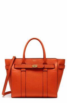 594963491856 Mulberry Small Bayswater Zipped Leather Satchel Orange Handbag