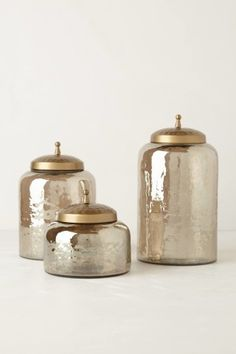 Mercury glass canisters these mercury moss canisters would add a touch of luxury to the bathroom or kitchen decoration ideas home decor items home Bathroom Canisters, Kitchen Canister Sets, Glass Canisters, Coffee Canister, Kitchen Utensils, Bathroom Storage, Kitchen Tools, Kitchen Gadgets, Glass Jars