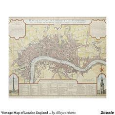 Vintage Map of London England (1727) Fleece Blanket