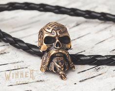 Bearded Skull - Paracord Knife Lanyard Bead in Bronze by TheWinnerStuff on Etsy