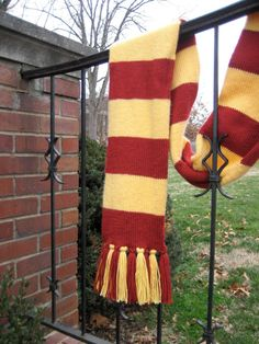 Gold and Scarlet Gryffindor Striped Scarf - from Somewhen Designs on Etsy