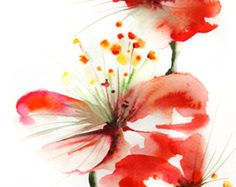 Red Flowers Art Print of Original Watercolor Painting 9x12'', Red Floral Wall Art
