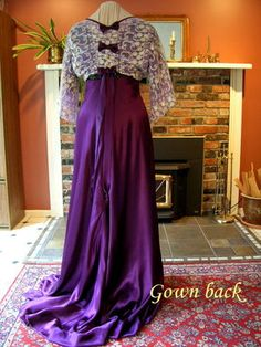 1909 Edwardian evening gown replica in purple silk satin (back view, showing the elegant trailing satin ties and satin bows). See elsewhere on this board the original French B&W sketch of this gown that I used to develop the replica.