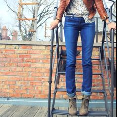 skinnies, polkadots, oxford booties and leather jacket