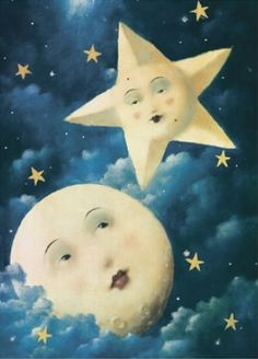 ---¤¤¤¤-- Moon and Star        ---¤¤¤¤--Vintage Celestial Print