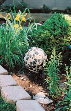 bowling ball becomes yard art