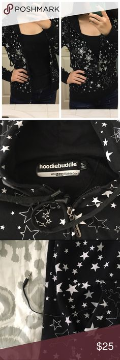 HoodieBuddie Jacket. Built-in earbuds! Drawstrings on jacket are really earbuds! Connect your device inside the pocket! It is a junior size large, but I am normally a medium and this fits perfectly. It would even fit a small pretty well. Size is very versatile. Machine washable. Jackets & Coats