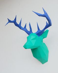 DIY Papercraft Deer Head Sculpture Pre-cut papercraft kit   Etsy Paper Glue, Cosplay Diy, Deer Antlers, Color Mixing, Sculptures, Kit, Handmade Gifts, Animals, Etsy