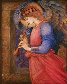 Angel playing a flageolet by Burne-Jones.