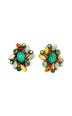 Shop Carole Tanenbaum Schiaparelli jadeite earrings at Moda Operandi