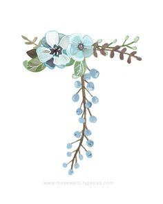 T Floral Letter by Makewells on Etsy