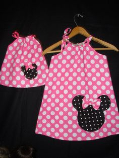 Minnie Mouse pink  polka dot Swing dress with by minnieschild, $24.99