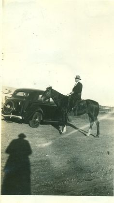 Cowboy Riding His Horse Past A Car 1940s Ranch Farm Sunday Suit Hat Sweetwater Texas TX Vintage Black and White Photo Photograph on Etsy, $3.95