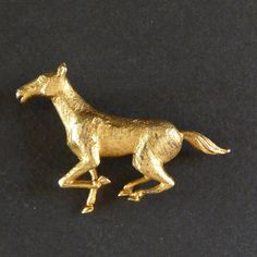 Vtg Boucher Galloping Horse Pony Figural Pin Brooch 3D 3012P Signed Gold Tone #Boucher