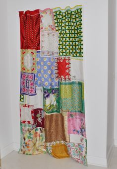 Shabby Chic Curtain how-to post made entirely from vintage scarves and hankies!