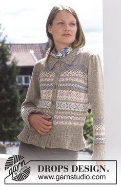 """DROPS Vest met traditioneel Noors motief van """"Silke-Tweed"""" en """"Camelia"""". Maat S - XL ~ DROPS Design"""