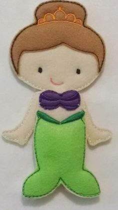 """Ava Grace doll plus mermaid set of clothing. Pick doll hair color. All of our dolls and outfits are interchangeable. Doll measures approx 5""""X7"""" and is made of a layer of soft felt and a very heavy sta"""