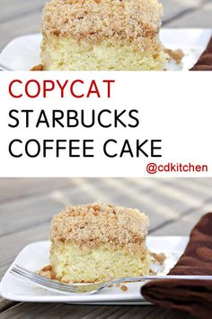 Copycat Starbucks Coffee Cake - Recipe is made with milk salt baking powder all-purpose flour cinnamon pecans butter brown sugar sugar eggs vanilla extract Starbucks Coffee Cake Recipe, Starbucks Cake Pops, Starbucks Recipes, Coffee Recipes, Cinnamon Coffee, Cinnamon Pecans, Köstliche Desserts, Delicious Desserts, Holiday Desserts